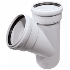 Тройник НПВХ белый безнапорный Дн75х75х45 в комплекте Firat Plastik